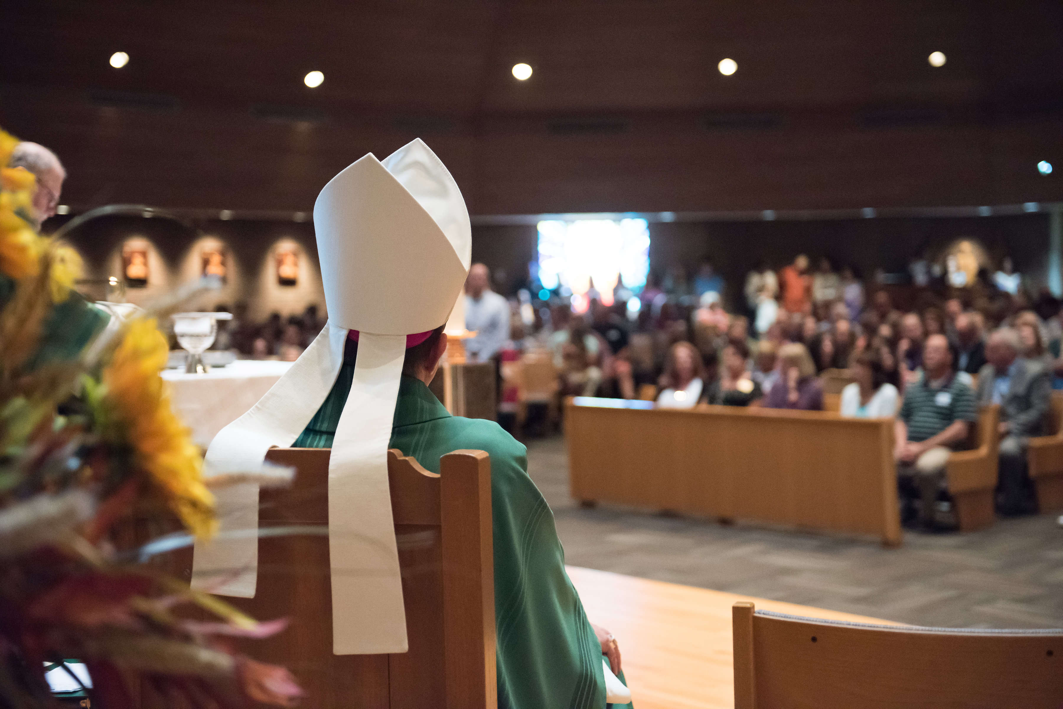 Bishop Walkowiak looks out on congregation during Father Damian's installation Mass