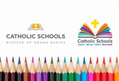 Catholic Schools Week 2019 image showing colored pencils and the DOGR schools logo