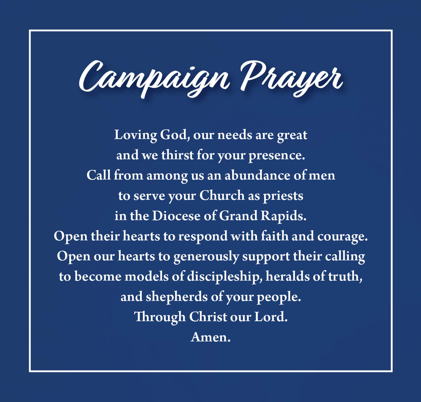 graphic of campaign prayer for Our Shepherds - Our Future