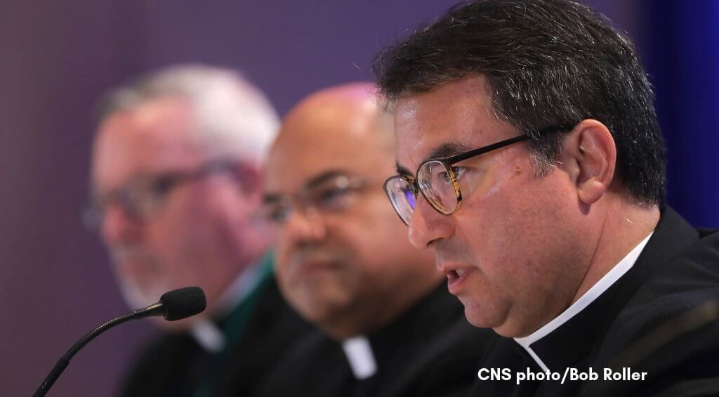 CNS photo of Bishop Cantu speaking at USCCB fall general assembly, Nov. 2018, by Bob Roller