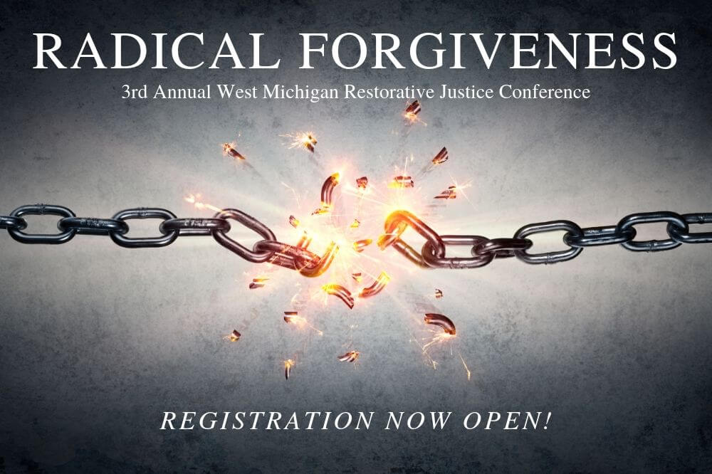 Restorative Justice Conference graphic, breaking chains, registration open