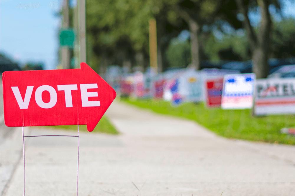 Faithful Citizenship - Vote sign, polling place, elections