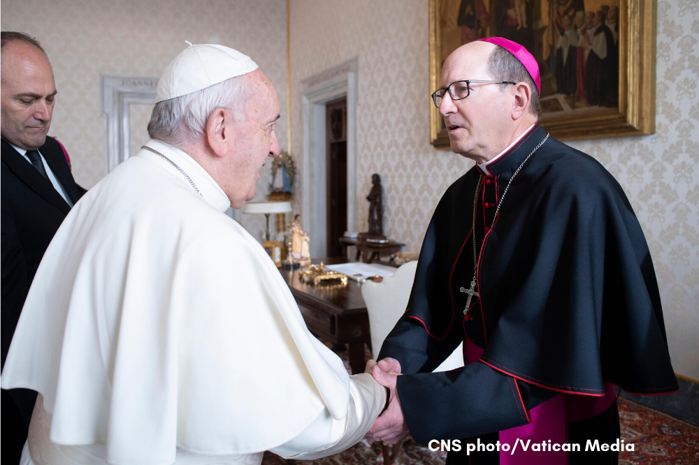 Bishop Walkowiak meets Pope Francis during ad limina 2019 visit, CNS photo/Vatican Media