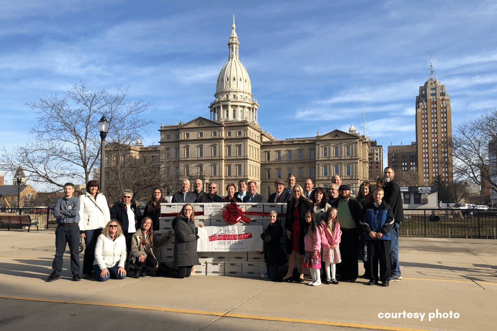 Families gathered outside Michigan state capitol to submit End Dismemberment Abortion petitions, Dec. 2019