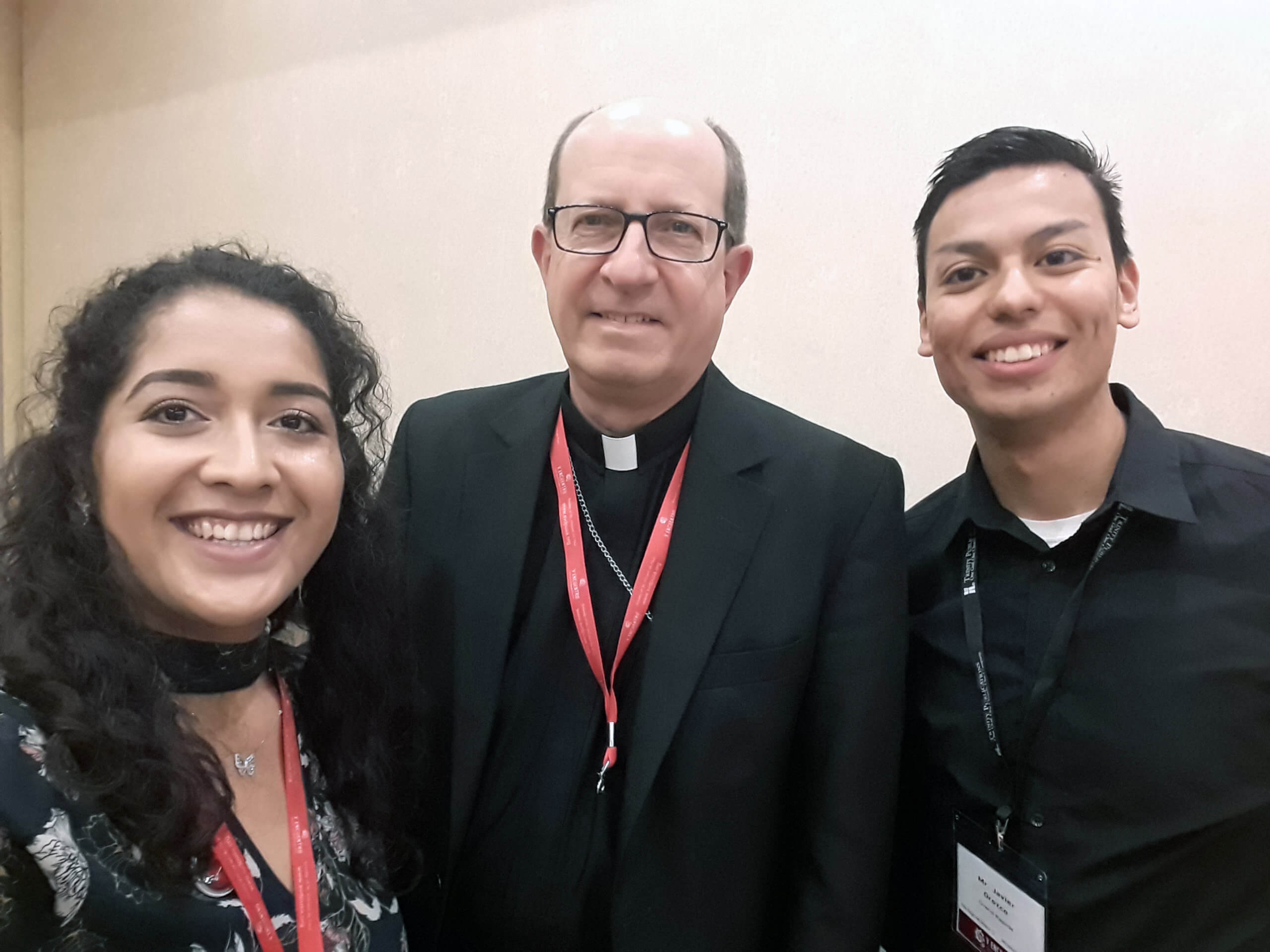 Young adults with Bishop Walkowiak at the V Encuentro, Sept. 2018