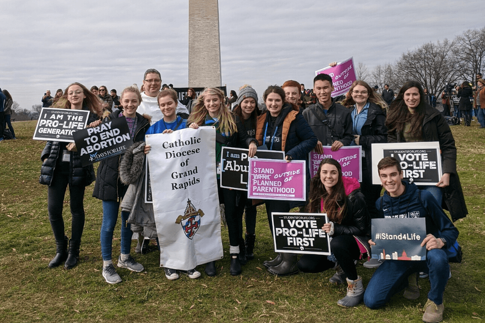 Catholic Central HS students on the National Mall before start of March for Life 2020