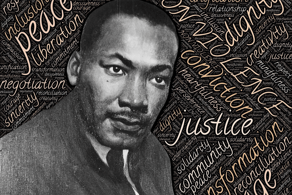 Martin Luther King Jr photo and word cloud, non-violence, peace