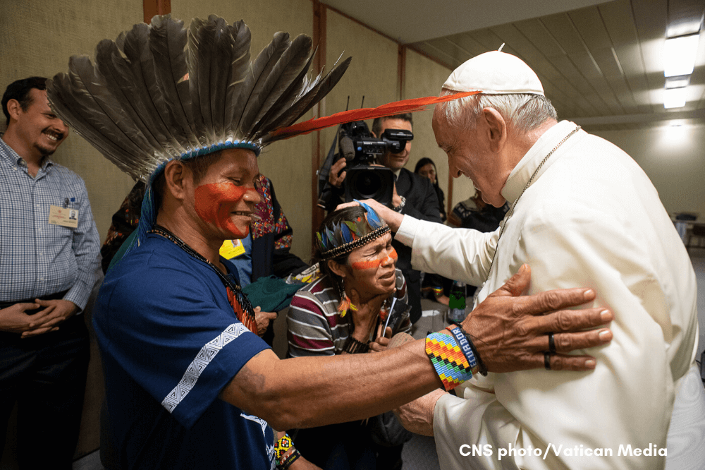 Pope Francis meets indigenous people during Amazon Synod
