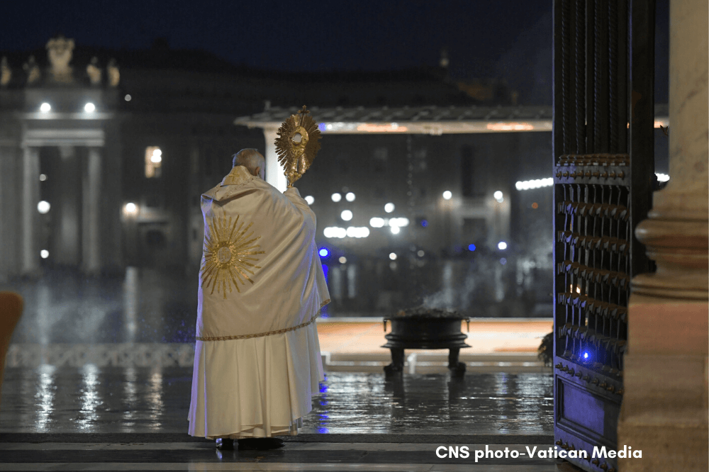 Pope Francis' special Urbi et Orbi blessing, COVID-19, March 27, 2020. CNS photo, Vatican Media