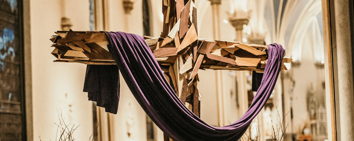Wood cross draped in purple, Cathedral of Saint Andrew, Lent