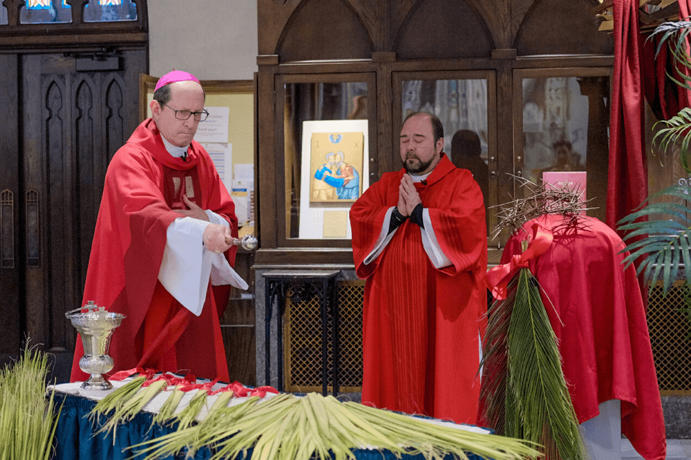 Bishop Walkowiak blessing palms, Cathedral of Saint Andrew, Palm Sunday, April 5, 2020