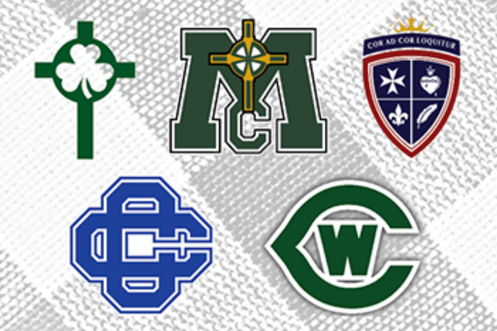 Class of 2020 - Logos of the five high schools in the diocese