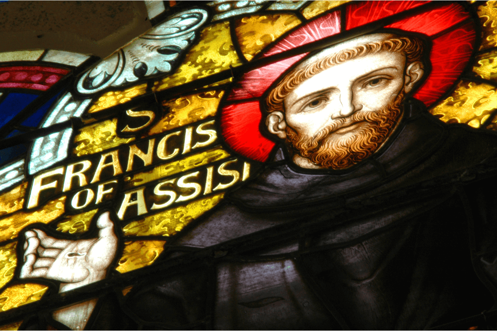 St. Francis of Assisi in stained glass, Pope Francis encyclical Fratelli tutti
