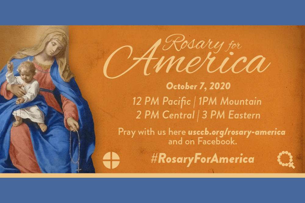 Rosary for America graphic from USCCB featuring Mary and Jesus